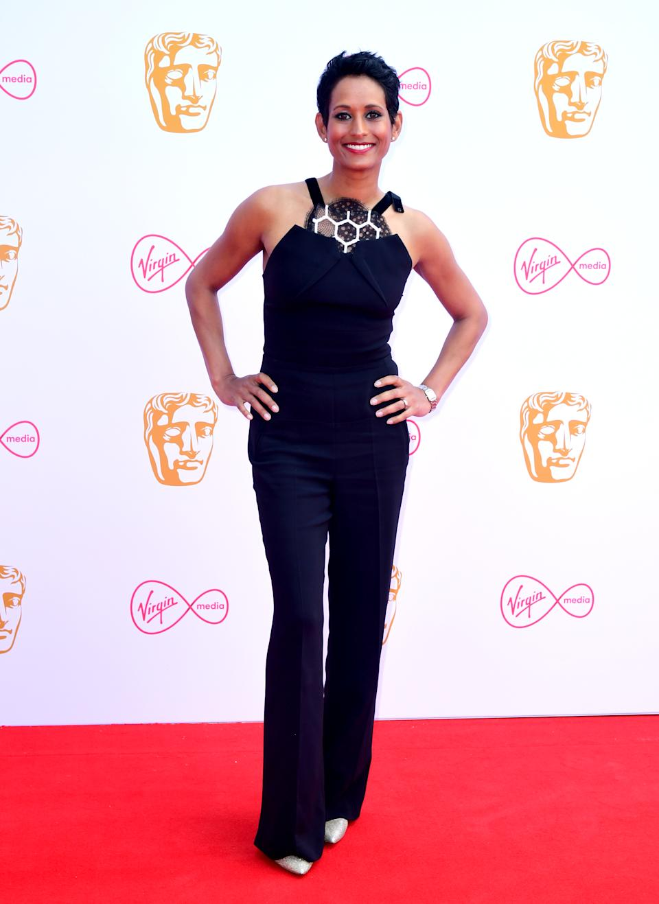 Naga Munchetty attending the Virgin Media BAFTA TV awards, held at the Royal Festival Hall in London. (Photo by Ian West/PA Images via Getty Images)