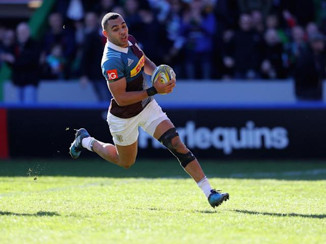 Joe Marchant crosses for the third try for Quins (Getty)