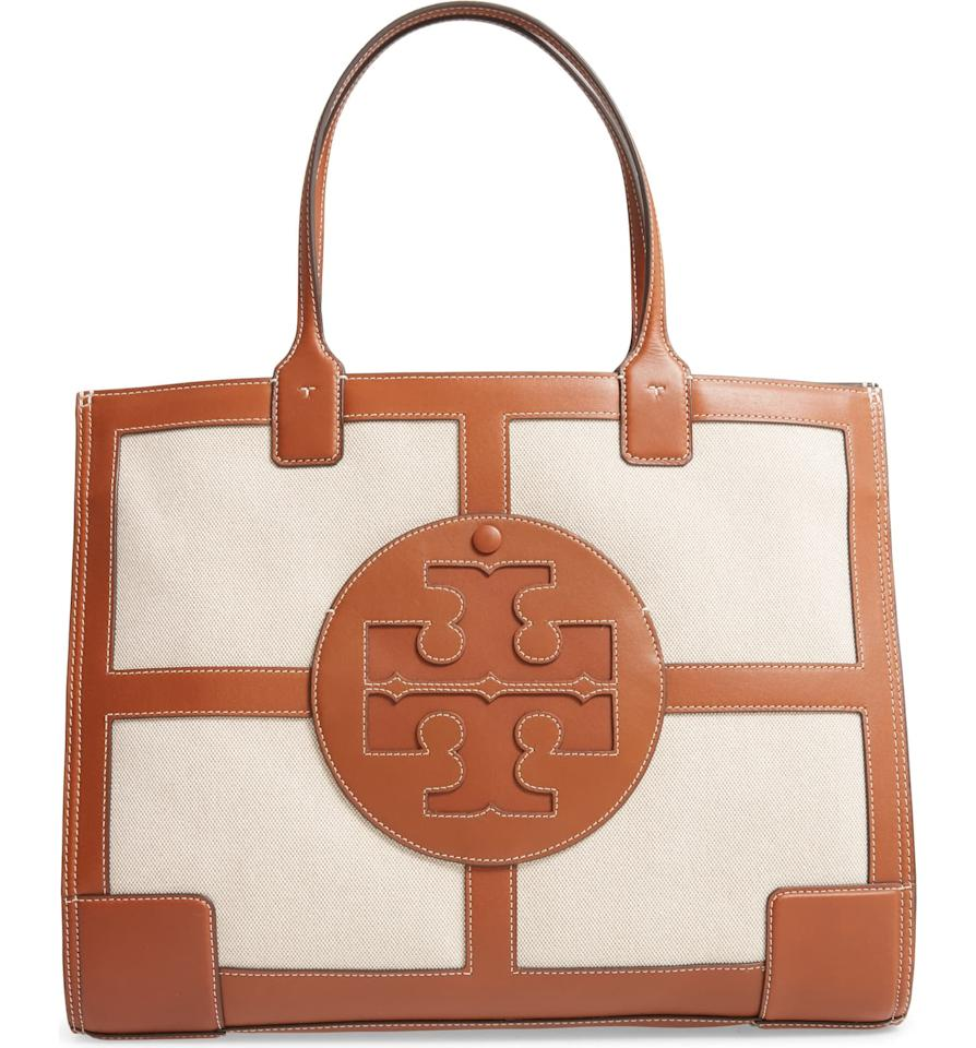 """<p>Upgrade your work bag to this <a href=""""https://www.popsugar.com/buy/Tory-Burch-Ella-Quardrant-Canvas-amp-Leather-Tote-555360?p_name=Tory%20Burch%20Ella%20Quardrant%20Canvas%20%26amp%3B%20Leather%20Tote&retailer=shop.nordstrom.com&pid=555360&price=398&evar1=fab%3Aus&evar9=47293844&evar98=https%3A%2F%2Fwww.popsugar.com%2Ffashion%2Fphoto-gallery%2F47293844%2Fimage%2F47293871%2FTory-Burch-Ella-Quardrant-Canvas-Leather-Tote&list1=shopping%2Caccessories%2Cbags%2Cspring%2Cspring%20fashion%2Cfashion%20shopping&prop13=mobile&pdata=1"""" rel=""""nofollow"""" data-shoppable-link=""""1"""" target=""""_blank"""" class=""""ga-track"""" data-ga-category=""""Related"""" data-ga-label=""""https://shop.nordstrom.com/s/tory-burch-ella-quardrant-canvas-leather-tote/5538821/full?origin=category-personalizedsort&amp;breadcrumb=Home%2FWomen%2FHandbags&amp;color=classic%20cuoio"""" data-ga-action=""""In-Line Links"""">Tory Burch Ella Quardrant Canvas &amp; Leather Tote</a> ($398).</p>"""