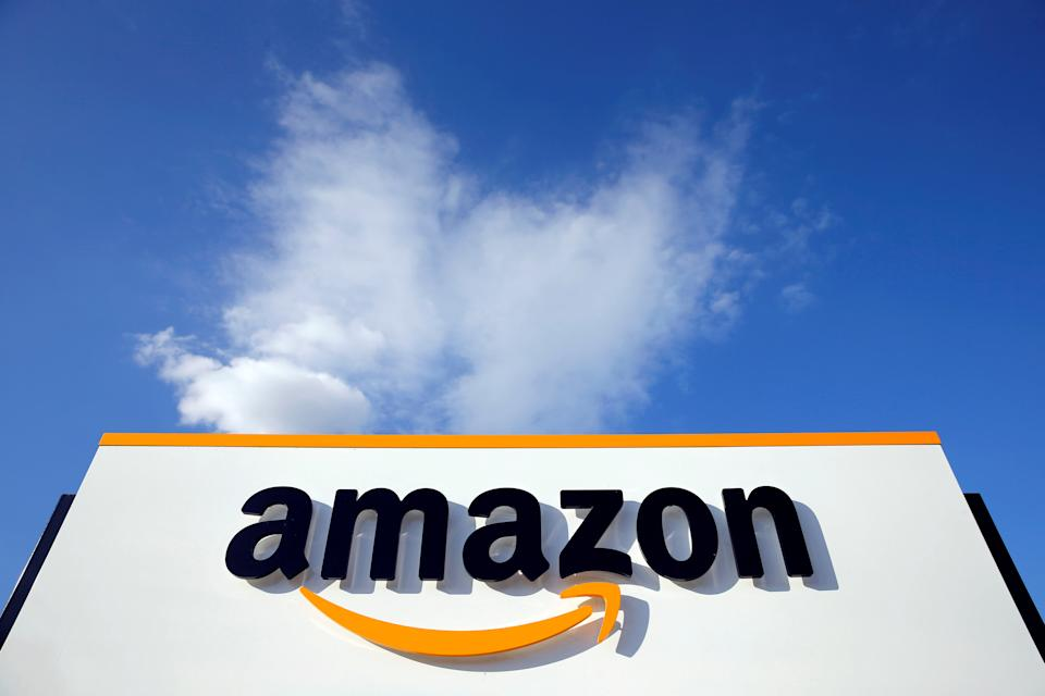 The logo of Amazon is seen at the company logistics centre in Boves, France, August 8, 2018. Photo: REUTERS/Pascal Rossignol/File Photo