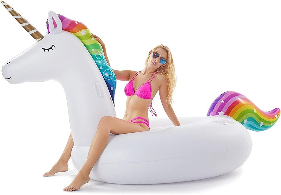 <p>Add a dash of whimsy with this <span>Jasonwell Giant Inflatable Unicorn Pool Float</span> ($36).</p>