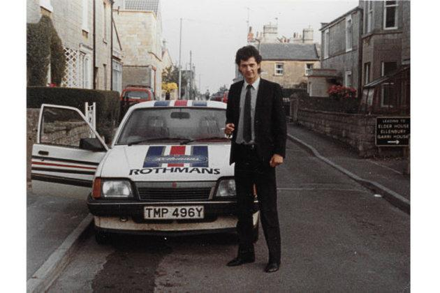 Simon Neale with his Rothmans-branded car.