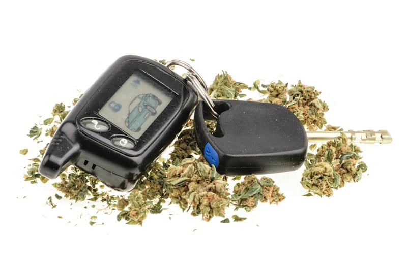 A car keychain that is surrounded by dried cannabis flowers.