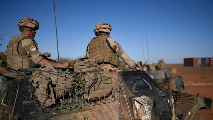 French soldiers on a military vehicle during the visit of the French president in Gao, northern Mali. 13 Jan 2017