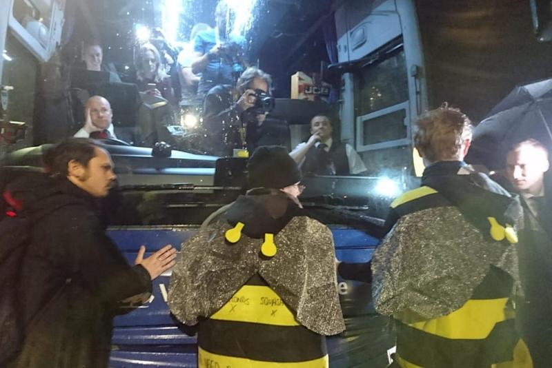 Bees attaching themselves to the Tory campaign bus: Extinction Rebellion