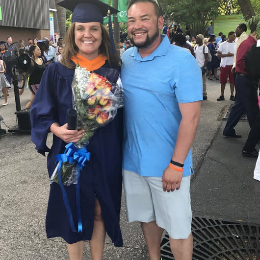 """<p>Recovering reality TV star Jon Gosselin shared this photo of his long-time love, Colleen Conrad, after she<br>received her master's degree in nursing from Drexel University. """"Congratulations honey,"""" he wrote. They later <a href=""""https://www.instagram.com/p/BVQrDdoj7eL/?taken-by=jongosselin1&hl=en"""" rel=""""nofollow noopener"""" target=""""_blank"""" data-ylk=""""slk:celebrated with beers"""" class=""""link rapid-noclick-resp"""">celebrated with beers</a>. (Photo: <a href=""""https://www.instagram.com/p/BVQqmK2j-aK/?taken-by=jongosselin1&hl=en"""" rel=""""nofollow noopener"""" target=""""_blank"""" data-ylk=""""slk:Jon Gosselin via Instagram"""" class=""""link rapid-noclick-resp"""">Jon Gosselin via Instagram</a>)<br><br></p>"""