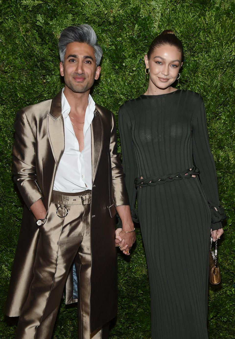 NEW YORK, NEW YORK - NOVEMBER 04: Tan France and Gigi Hadid attend the CFDA / Vogue Fashion Fund 2019 Awards at Cipriani South Street on November 04, 2019 in New York City. (Photo by Jamie McCarthy/Getty Images)