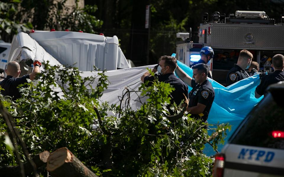 New York City Police officers shield a person from view who died after a tree fell on a van - AP Photo/Frank Franklin II