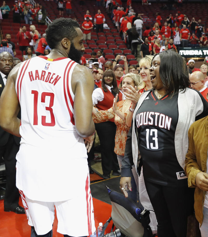 James Harden and his mom, Monja Willis