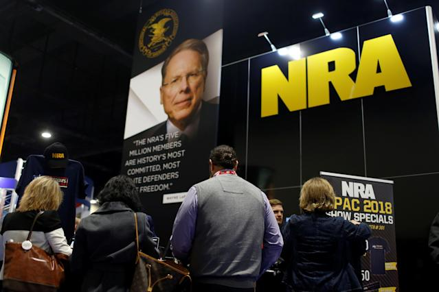 <p>People sign up at the booth for the National Rifle Association (NRA) at the Conservative Political Action Conference (CPAC) at National Harbor, Md., Feb. 23, 2018. (Photo: Joshua Roberts/Reuters) </p>