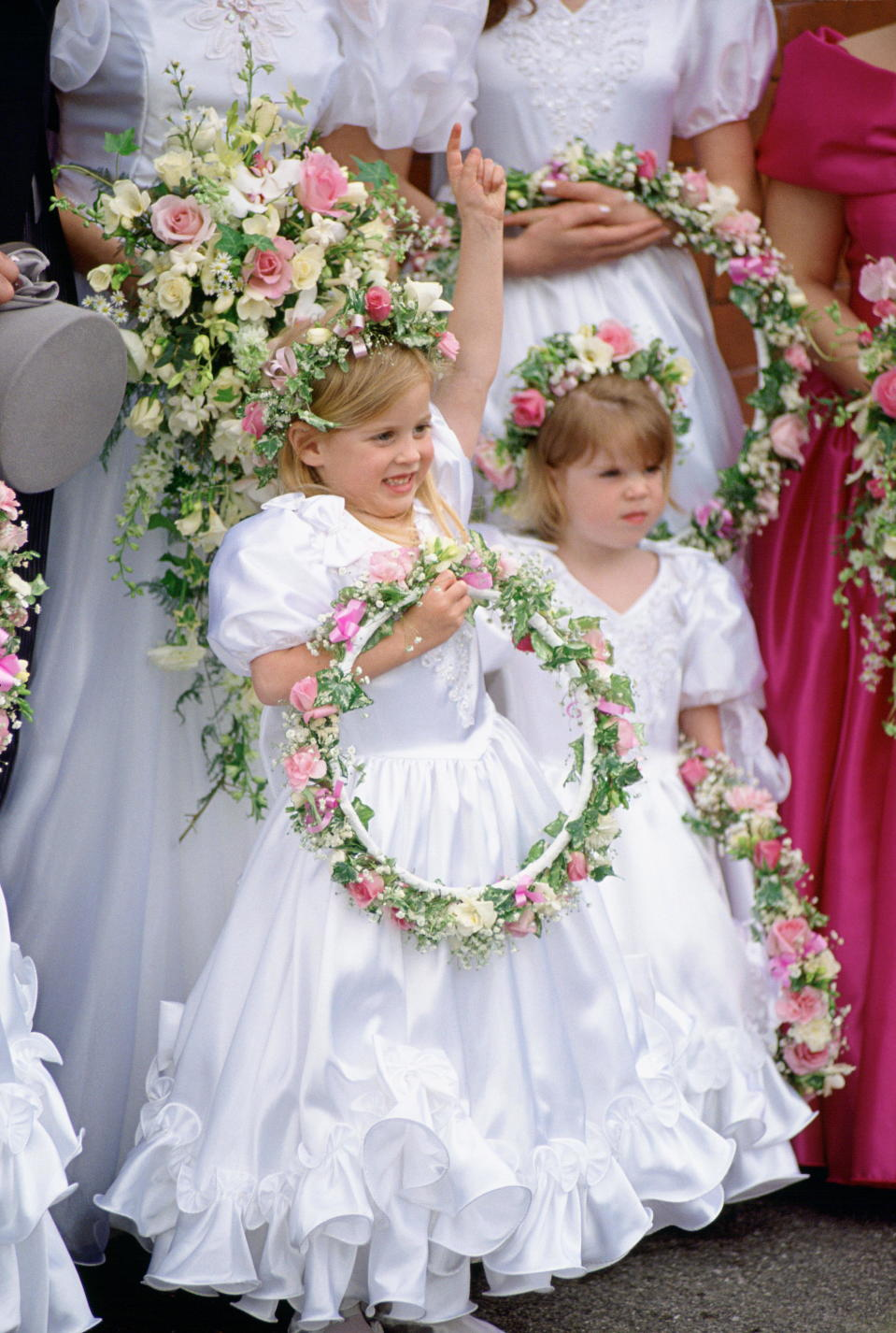 MANCHESTER, UNITED KINGDOM - APRIL 24:  Princess Beatrice And Princess Eugenie As Bridesmaids At Alison Wardley Wedding.  (Photo by Tim Graham Photo Library via Getty Images)
