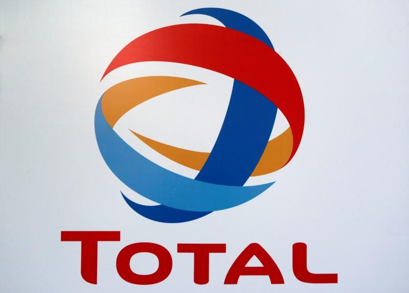 The logo of French oil giant Total is pictured at its first gas station in Mexico City