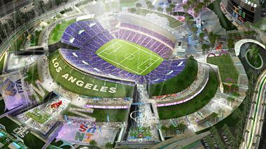 In this artist rendering provided by Meis Architects, a proposed NFL stadium in the City of Industry, east of Los Angeles is depicted