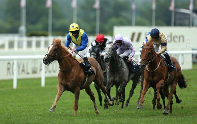 Dream Of Dreams ridden by Ryan Moore on their way to winning the Diamond Jubilee Stakes at Ascot