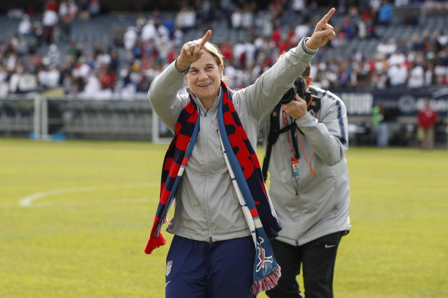 Vlatko Andonovski is taking over the USWNT from Jill Ellis (pictured), who laid down some benchmarks of successful management. (AP)