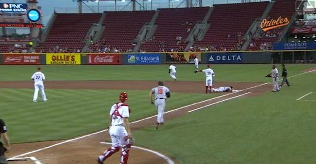 Pretty much everyone in this picture is confused. (MLB.TV)