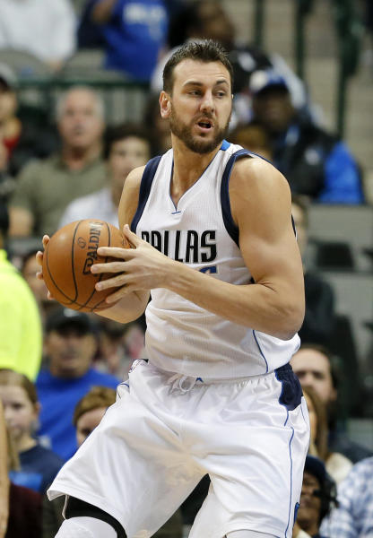FILE - In this Friday, Nov. 18,2016 file photo, Dallas Mavericks center Andrew Bogut (6) of Australia handles the ball during an NBA basketball game against the Memphis Grizzlies in Dallas. Andrew Bogut has chosen to join the Cleveland Cavaliers, giving LeBron James and the defending champions another accomplished veteran as they prepare to mount a run to their third straight NBA Finals. Bogut's agent, David Bauman of ISE, told The Associated Press on Tuesday, Feb. 28, 2017 that Bogut plans to sign with the Cavaliers as soon as he clears waivers. (AP Photo/Tony Gutierrez, File)