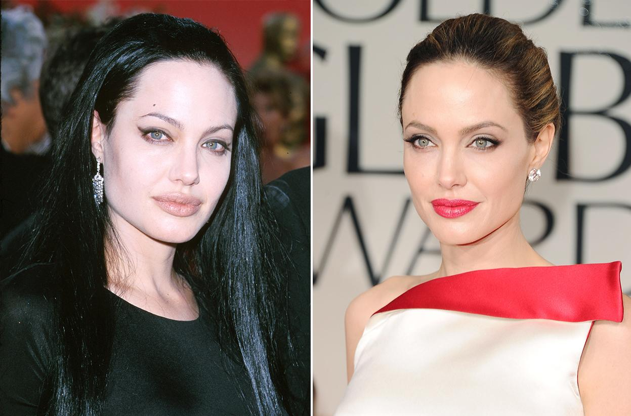 Past Golden Globe winner Angelina Jolie's style was once compared to that of Morticia Addams, thanks to her jet black, waist-length locks and a gown and makeup that didn't make the most of her stunning features. These days, Jolie's natural beauty shines through.