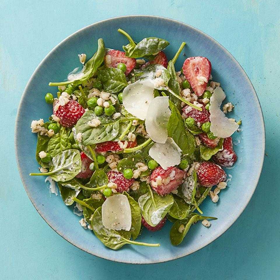 "<p>Adding strawberries puts a refreshing spin to your salad.</p><p><strong><a href=""https://www.womansday.com/food-recipes/food-drinks/a27285750/barley-salad-with-strawberries-and-buttermilk-dressing/"" target=""_blank""><em>Get the recipe.</em></a></strong></p>"