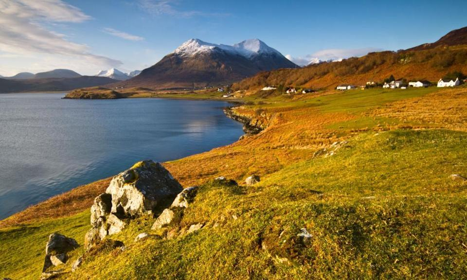 The Braes area near Portree on the island of Skye. In the distance are the Cuillin mountains.