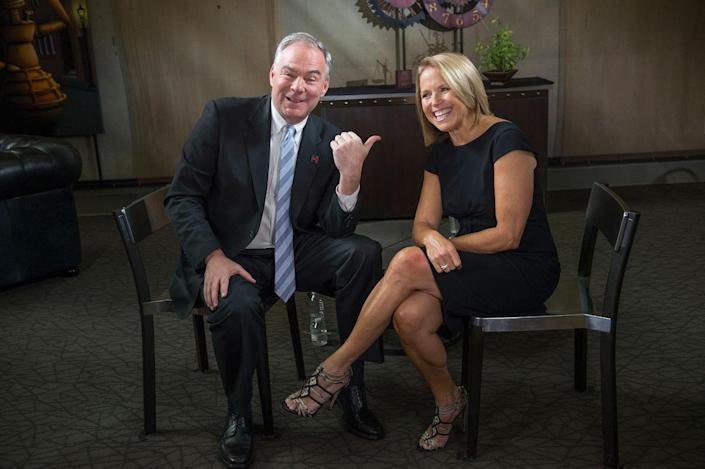 <p>Democratic vice presidential nominee and U.S. Sen. Tim Kaine jokes with Yahoo Global News Anchor Katie Couric after an interview with her on Thur., Sept. 22, 2016 at the University of Nevada, Reno. (Renée C. Byer for Yahoo News) </p>
