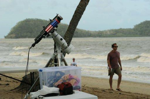<p>Equipment is made ready to be used for a direct feed of the total solar eclipse to NASA on the foreshore at Palm Cove in Tropical North Queensland.</p>