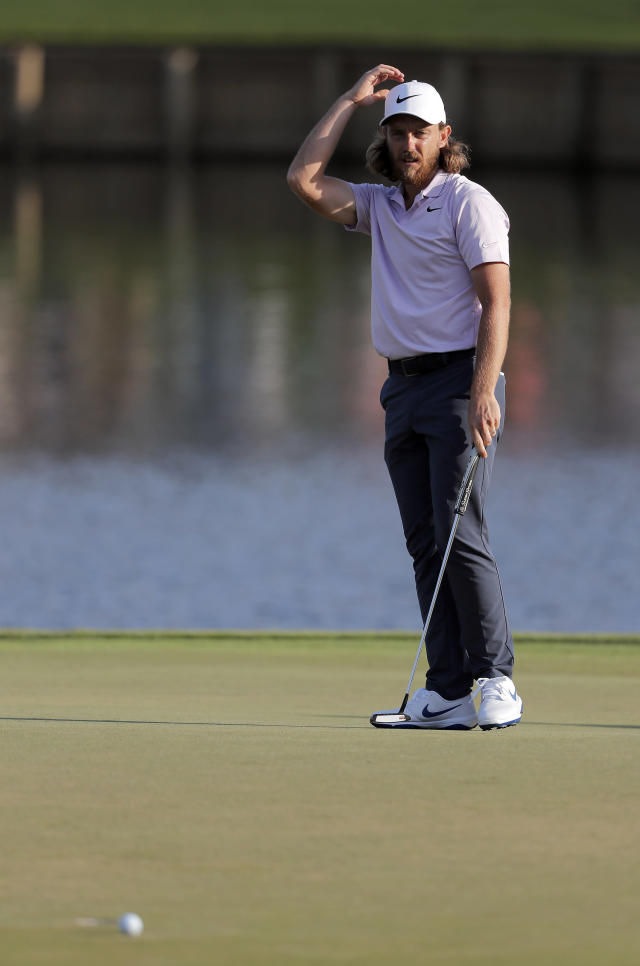 Tommy Fleetwood, of England, reacts to a missed putt on the 17th hole during the second round of The Players Championship golf tournament Friday, March 15, 2019, in Ponte Vedra Beach, Fla. (AP Photo/Gerald Herbert)