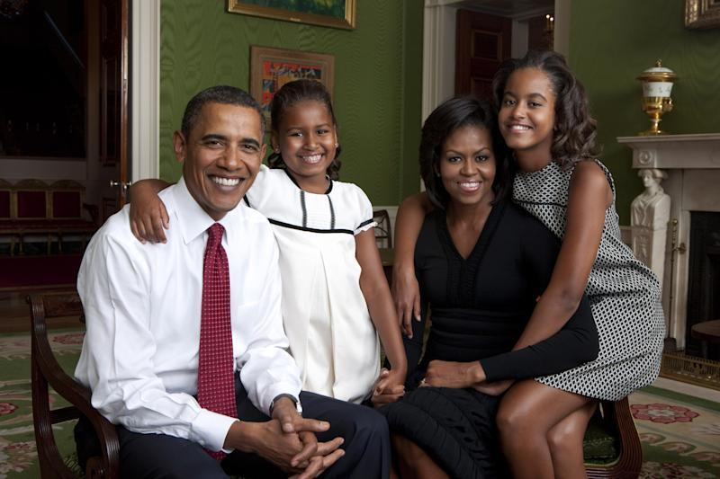 President Barack Obama, First Lady Michelle Obama, and their daughters, Malia and Sasha, sit for a family portrait in the Green Room of the White House, Sept. 1, 2009. (Official White House Photo) Photo by Annie Leibovitz/Released by White House Photo Office This official White House photograph is being made available only for publication by news organizations and/or for personal use printing by the subject(s) of the photograph. The photograph may not be manipulated in any way and may not be used in commercial or political materials, advertisements, emails, products, promotions that in any way suggests approval or endorsement of the President, the First Family, or the White House.