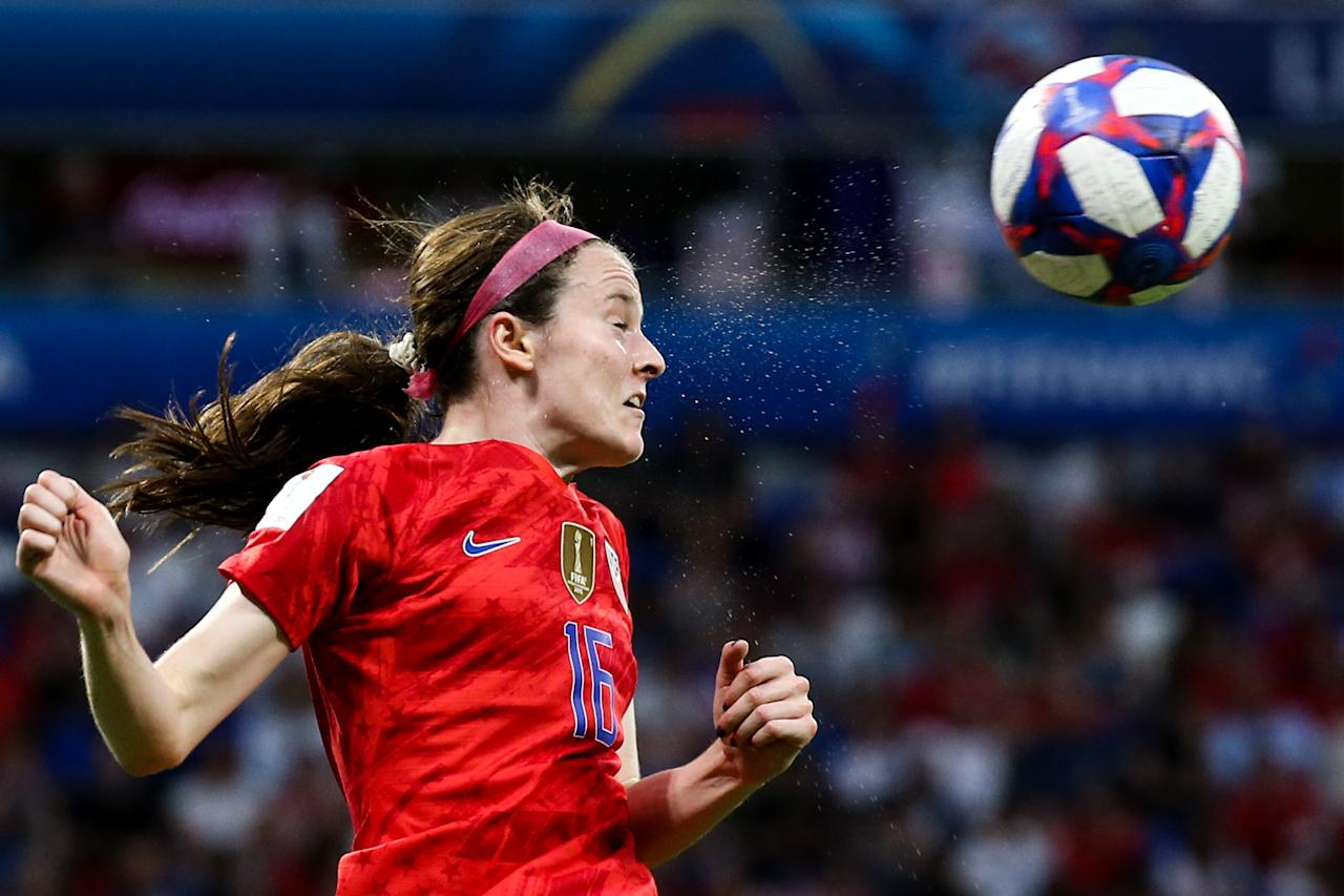 #16 Rose Lavelle of USA competes for the ball during the 2019 FIFA Women's World Cup France Semi Final match between England and USA at Stade de Lyon on July 02, 2019 in Lyon, France. (Photo by Zhizhao Wu/Getty Images)