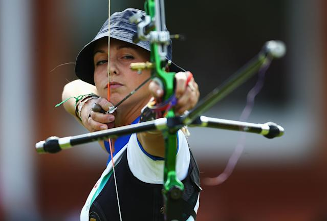 LONDON, ENGLAND - AUGUST 01: Jessica Tomasi of Italy competes in her Women's Individual Archery 1/32 Eliminations match against Hyeonju Choi of Korea during the Women's Individual Archery on Day 5 of the London 2012 Olympic Games at Lord's Cricket Ground on August 1, 2012 in London, England. (Photo by Paul Gilham/Getty Images)
