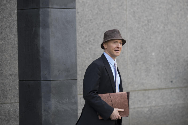 Carter Page arrives at the United States District Court Southern District of New York on April 16, 2018, in New York City. (Drew Angerer via Getty Images)