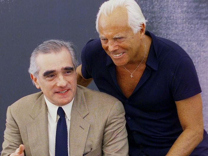 "Scorsese and Armani at the Venice film festival in 1999. <p class=""copyright"">Reuters</p>"