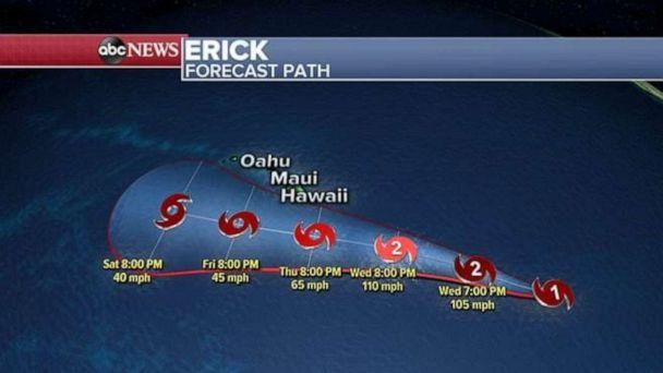 PHOTO: This image shows Erick's projected path. (ABC News)
