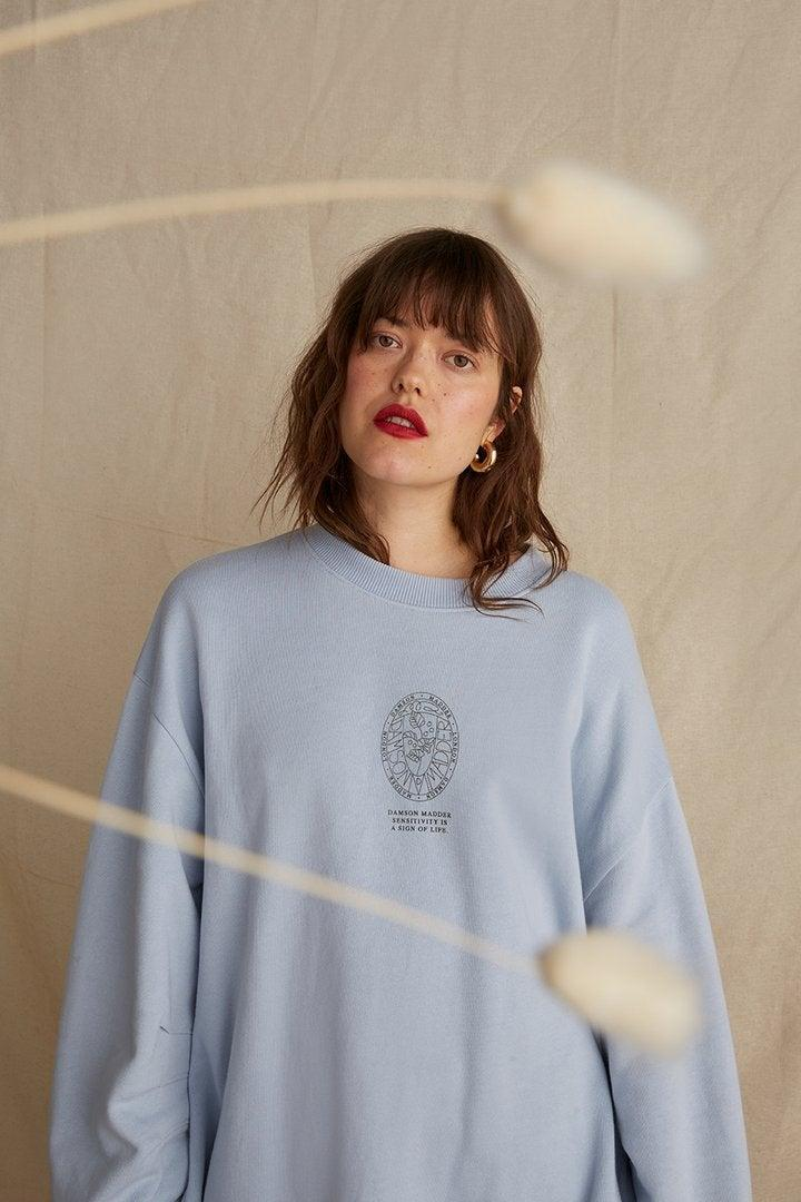 """<br><br><strong>Damson Madder</strong> Natural Dye Oversized Sweatshirt with Side Splits, $, available at <a href=""""https://damsonmadder.com/collections/new-in/products/pleated-sleeve-pale-blue-sweatshirt"""" rel=""""nofollow noopener"""" target=""""_blank"""" data-ylk=""""slk:Damson Madder"""" class=""""link rapid-noclick-resp"""">Damson Madder</a>"""