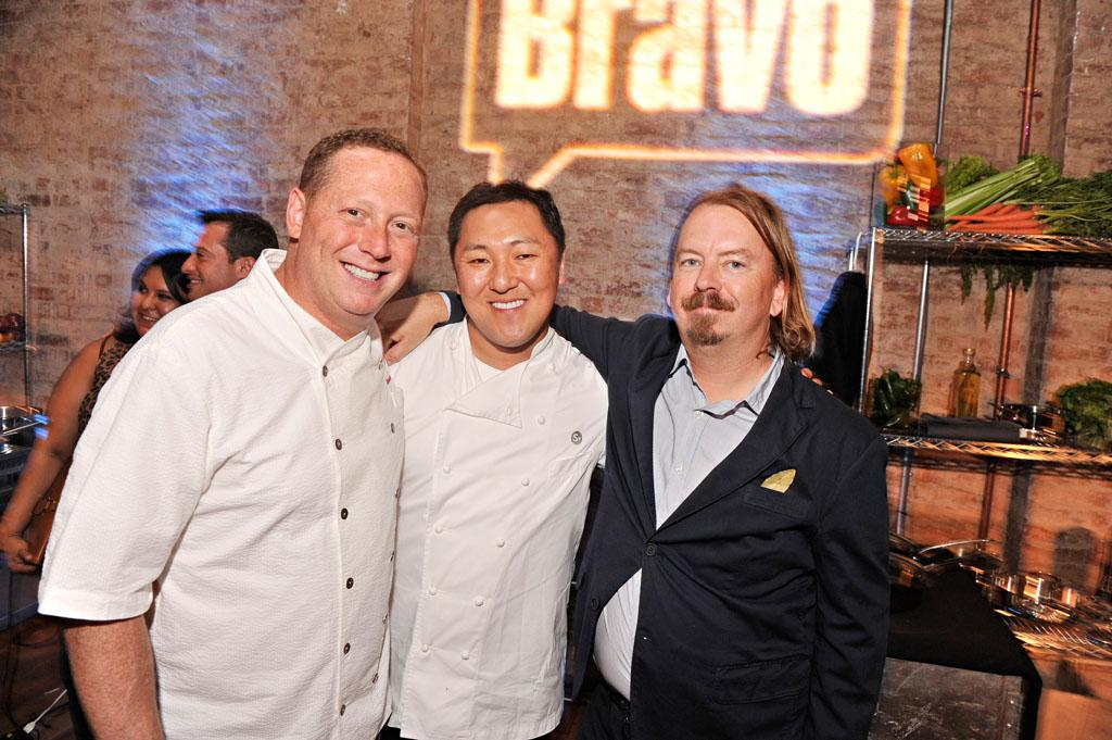 """Franklin Becker, Sang Yoon, and Neal Fraser attend the """"Top Chef Masters"""" Season 5 Premiere Tasting Event presented by Chase Sapphire Preferred at 82 Mercer on Tuesday, July 16, 2013 in New York."""