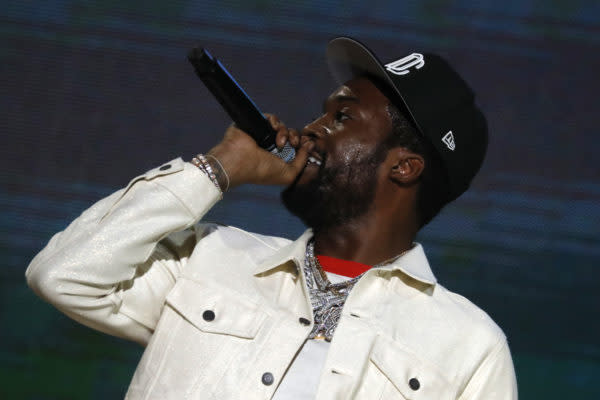 Meek Mill performs onstage during Global Citizen Live, New York on September 25, 2021 in New York City. (Photo by John Lamparski/Getty Images,)