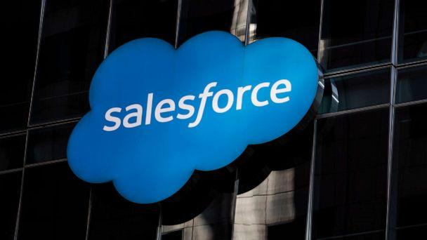 PHOTO: The Salesforce logo is seen at its headquarters on Dec. 1, 2020 in San Francisco. (Stephen Lam/Getty Images)
