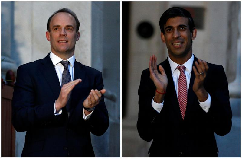 Dominic Raab and Rishi Sunak take part in the Clap for Carers (PA)
