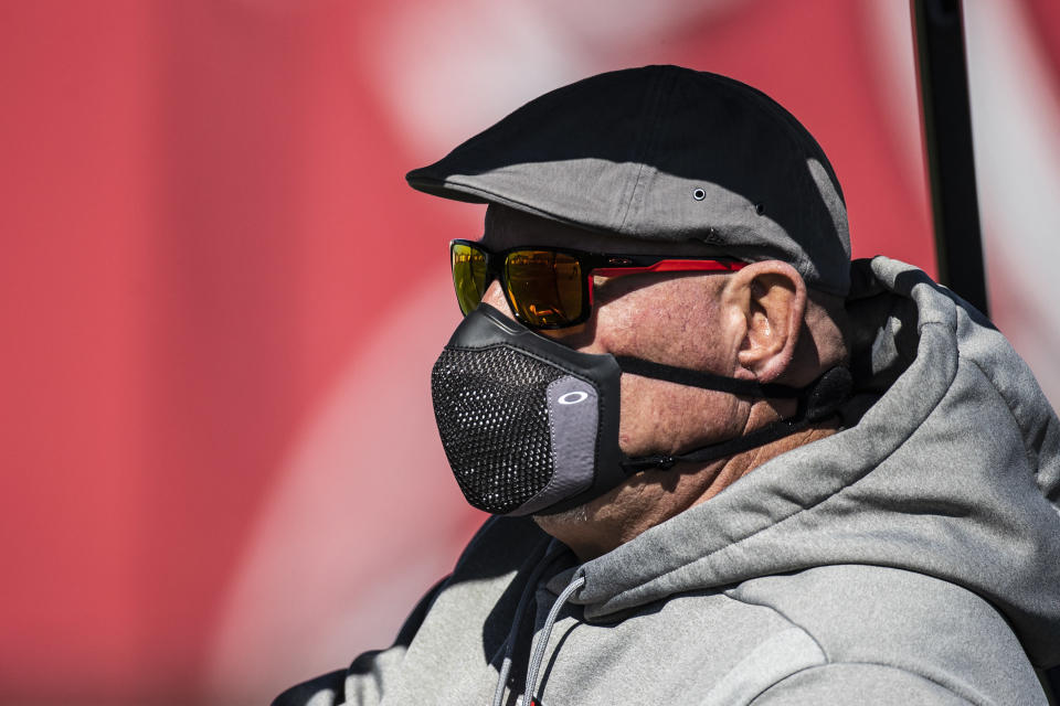 Tampa Bay Buccaneers Head Coach Bruce Arians during NFL football practice, Thursday, Feb. 4, 2021 in Tampa, Fla. The Buccaneers will face the Kansas City Chiefs in Super Bowl 55. (Kyle Zedaker/Tampa Bay Buccaneers via AP)