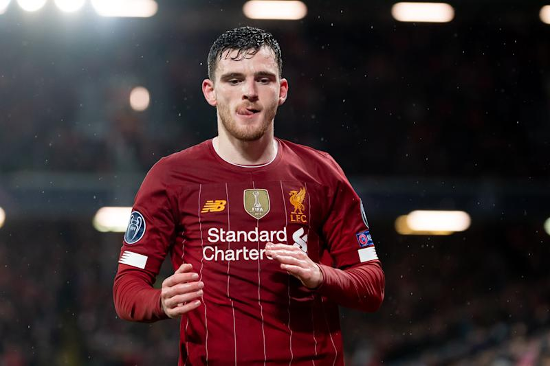 LIVERPOOL, ENGLAND - MARCH 11: (BILD ZEITUNG OUT) Andrew Robertson of Liverpool FC looks on during the UEFA Champions League round of 16 second leg match between Liverpool FC and Atletico Madrid at Anfield on March 11, 2020 in Liverpool, United Kingdom. (Photo by Max Maiwald/DeFodi Images via Getty Images)