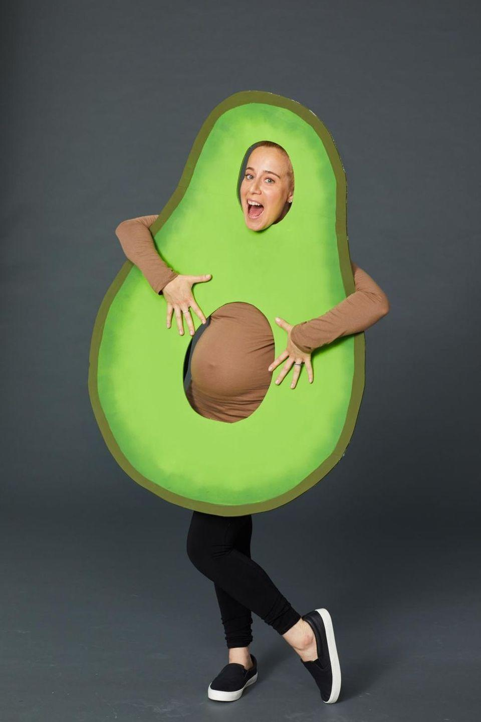"""<p>This DIY costume is so easy to make: trace the shape of your belly on a large piece of presentation board and then cut out a hole for the """"pit."""" Then, paint it with different shades of green with paint. Attach straps to the back to slide your arms through, and then wear a brown shirt underneath. </p><p>Your partner can then DIY or buy a sliced of bread costume. </p><p><a class=""""link rapid-noclick-resp"""" href=""""https://www.amazon.com/Pure-Look-Stretch-Thermal-Underwear/dp/B08XJX3NM3?tag=syn-yahoo-20&ascsubtag=%5Bartid%7C10070.g.28589425%5Bsrc%7Cyahoo-us"""" rel=""""nofollow noopener"""" target=""""_blank"""" data-ylk=""""slk:SHOP BROWN SHIRT"""">SHOP BROWN SHIRT</a></p><p><a class=""""link rapid-noclick-resp"""" href=""""https://www.amazon.com/Best-Thing-Since-Sliced-Bread/dp/B08GDP4TTF?tag=syn-yahoo-20&ascsubtag=%5Bartid%7C10070.g.28589425%5Bsrc%7Cyahoo-us"""" rel=""""nofollow noopener"""" target=""""_blank"""" data-ylk=""""slk:SHOP BREAD COSTUME"""">SHOP BREAD COSTUME</a></p>"""
