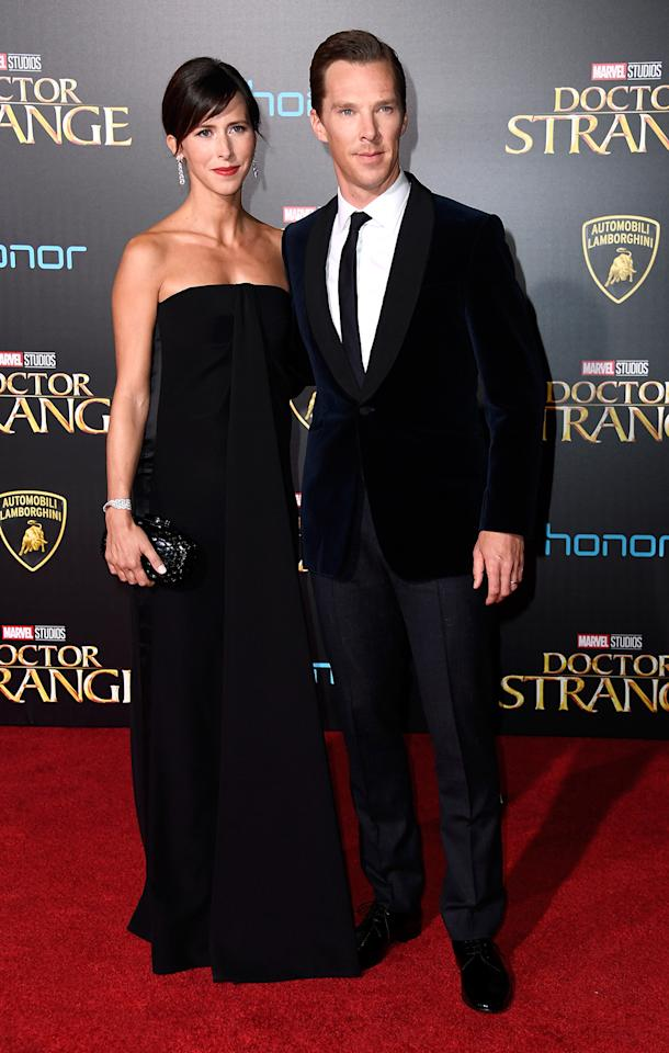 <p>Cumberbatch — here with wife Sophie Hunter — plays the arrogant Doctor Strange who delves into the mystical world after an accident ends his medical career. (Photo: Frazer Harrison/Getty Images) </p>