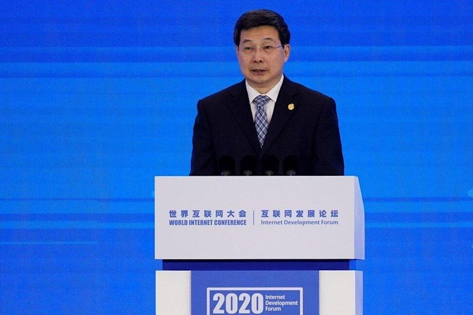 Zhuang Rongwen, Minister of Cyberspace Administration of China, seen at the World Internet Conference in November 2020. Photo: Reuters