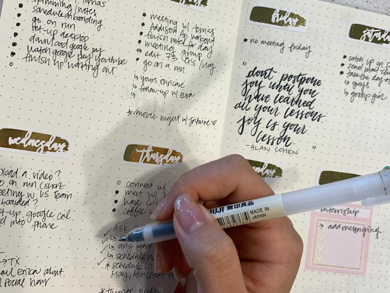Song makes it a daily ritual to write in her bullet journal to stay organized. Angelica Song