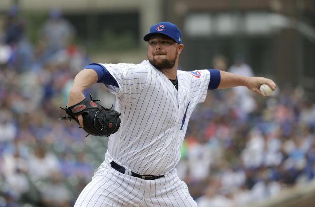 "<a class=""link rapid-noclick-resp"" href=""/mlb/teams/chc"" data-ylk=""slk:Chicago Cubs"">Chicago Cubs</a> starting pitcher <a class=""link rapid-noclick-resp"" href=""/mlb/players/7790/"" data-ylk=""slk:Jon Lester"">Jon Lester</a>'s bounce back season has featured a whole lot of luck (AP Photo)."