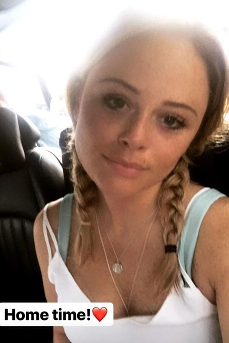 Heading home: Emily Atack posted a selfie as she prepared to leave Australia (Instagram / Emily Atack)