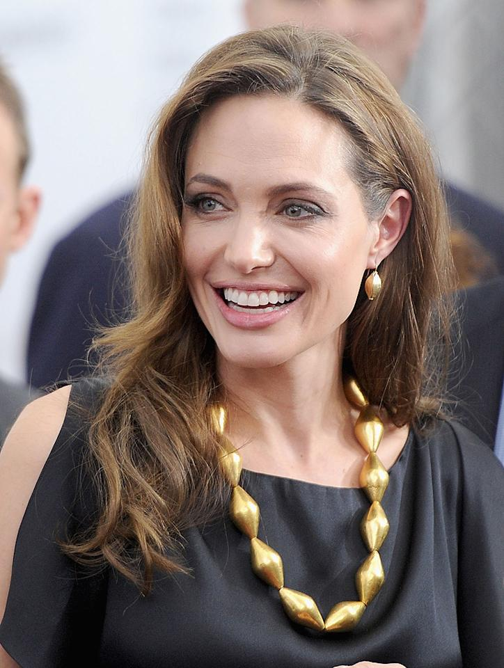 "<a href=""http://movies.yahoo.com/movie/contributor/1800019275"">Angelina Jolie</a> at the New York premiere of <a href=""http://movies.yahoo.com/movie/1810186173/info"">In the Land of Blood and Honey</a> on December 5, 2011."