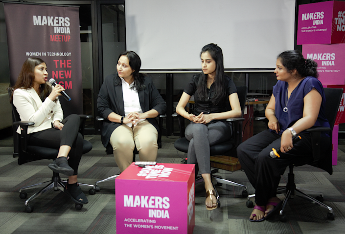 L to R: Rashie Jain of Onco.com, Kirti Srivastava of GetPY.biz, and Jayalakshmi Manohar of Streak.ai, with the panel moderator Athira Nair of MAKERS India.