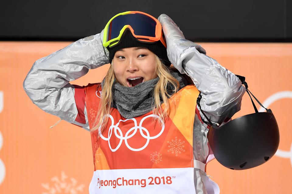 <p>Chloe Kim of the United States reacts to her first run score during the Snowboard Ladies' Halfpipe Final on day four of the PyeongChang 2018 Winter Olympic Games at Phoenix Snow Park on February 13, 2018 in Pyeongchang-gun, South Korea. (Photo by David Ramos/Getty Images) </p>