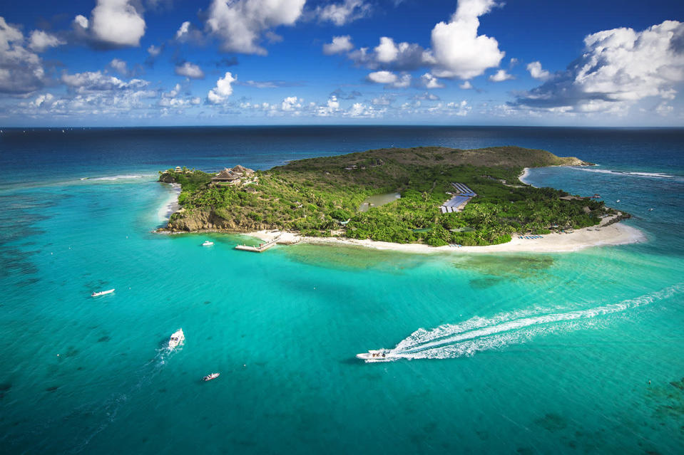 """<h3><strong><a rel=""""nofollow noopener"""" href=""""https://www.virginlimitededition.com/en/necker-island"""" target=""""_blank"""" data-ylk=""""slk:Necker Island, British Virgin Islands"""" class=""""link rapid-noclick-resp"""">Necker Island, British Virgin Islands</a></strong></h3> <p>Richard Branson's famous Caribbean island is newly reopened post-hurricanes and as gorgeous as ever. The private resort is the ultimate in luxury, with an 11-bedroom Balinese-style house, two communal beach houses for dining and lounging, a pool, and beachfront Jacuzzi with space for more than 30 people. The all-inclusive getaway provides the dreamiest backdrop to host your most special events with up to 24 people; however, those traveling simply as a couple can also indulge in this idyllic island escape during """"Celebration Weeks,"""" when rooms are available for solo bookings. <i>Rates from $62,500 per night for up to 24 guests.</i></p>"""